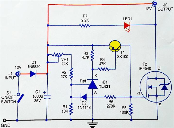 Принципиальня схема устройства защиты аккумулятора