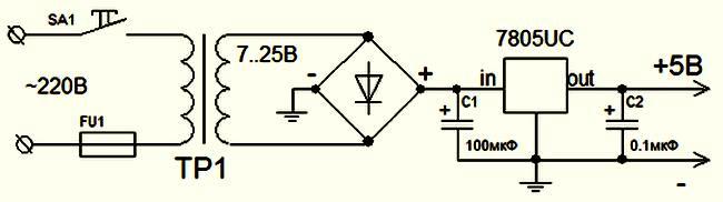 Схема адаптера питания контроллера