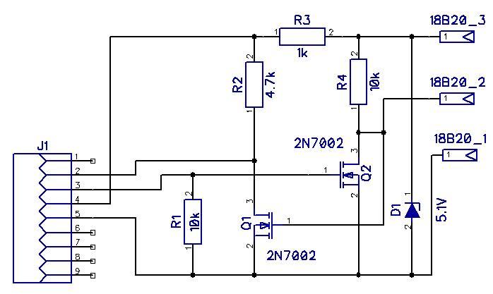 Схема приставки - термометра для компьютера