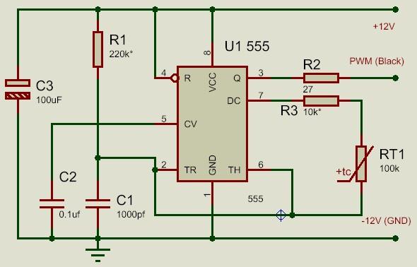 Схема регулятора скорости вращения четырех-проводного вентилятора