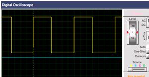Форма сигнала на выходе таймера 555 при комнатной температуре