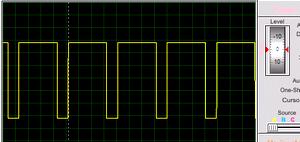 Форма сигнала на выходе при увеличении температуры