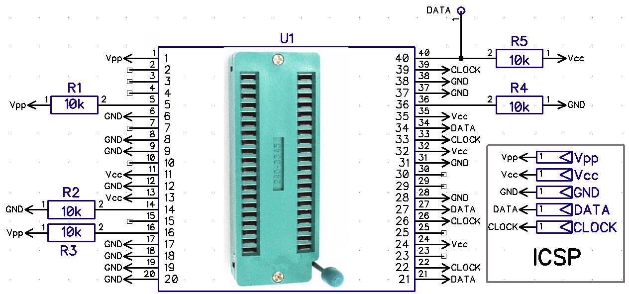 принципиальная схема адаптера программирования PIC контроллеров